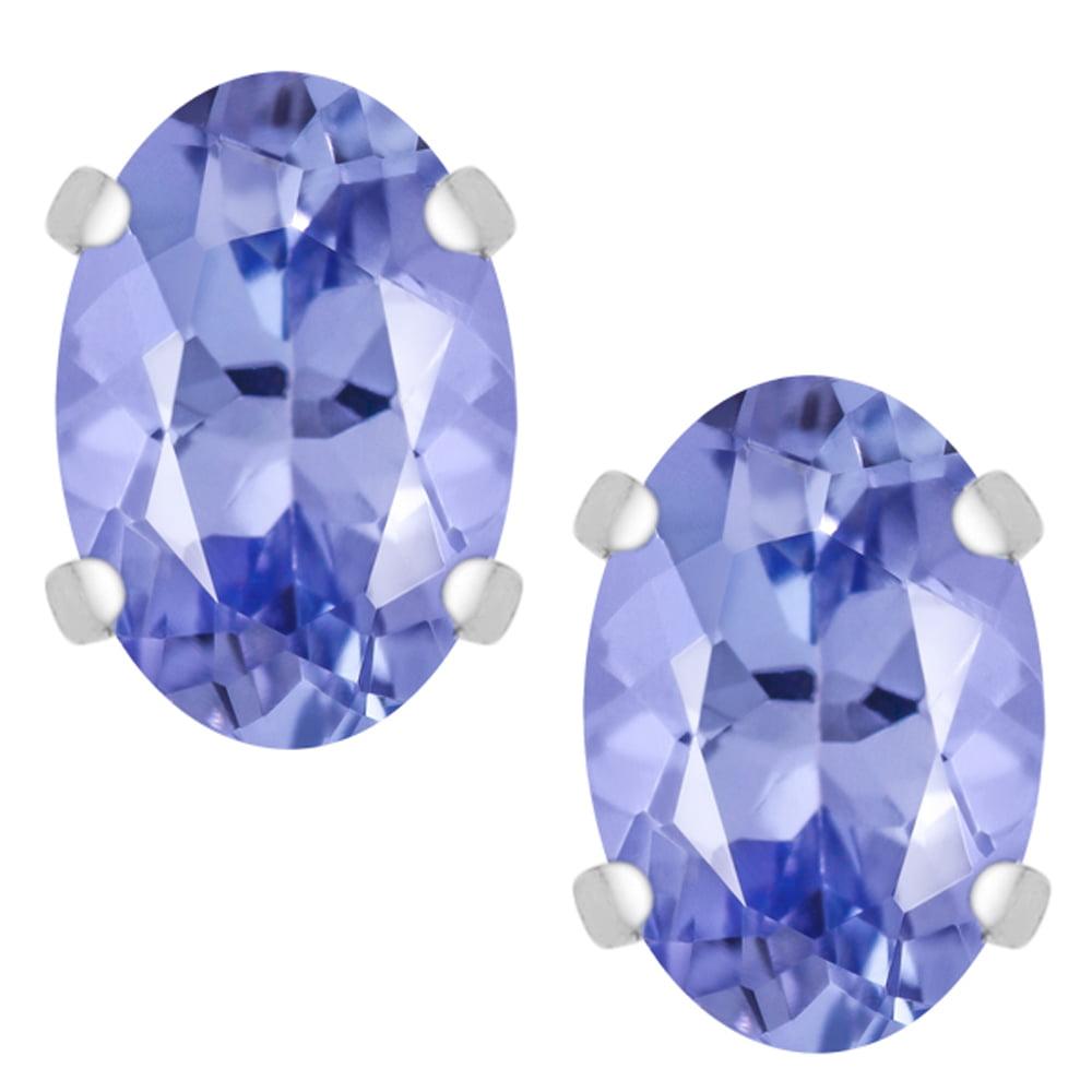 1.30 Ct Oval Genuine Tanzanite 925 Sterling Silver Stud Earrings 6.5X4.5mm