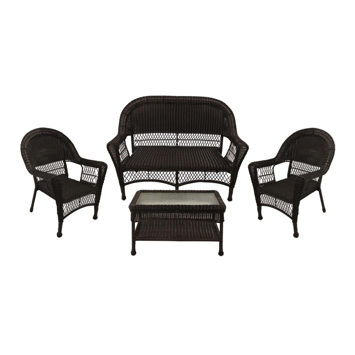 4-Piece Brown Resin Wicker Patio Furniture Set 2 Chairs, Loveseat & Coffee Table by LB International