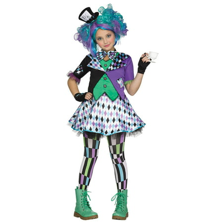 Fun World Alice in Wonderland's Mad Hatter 5pc Girl Costume, Black Green Purple (Mad Hatters Tea Party Outfits)