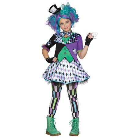 Fun World Alice in Wonderland's Mad Hatter 5pc Girl Costume, Black Green Purple](Mad Hatter Girl Halloween Costume)