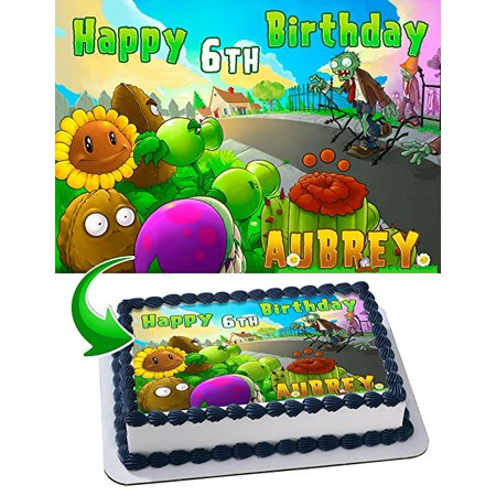 Plants vs. Zombies Edible Cake Topper Personalized 1/2 Size Sheet Decoration Party Birthday Sugar Frosting Transfer Fondant - Zombie Halloween Cake Ideas