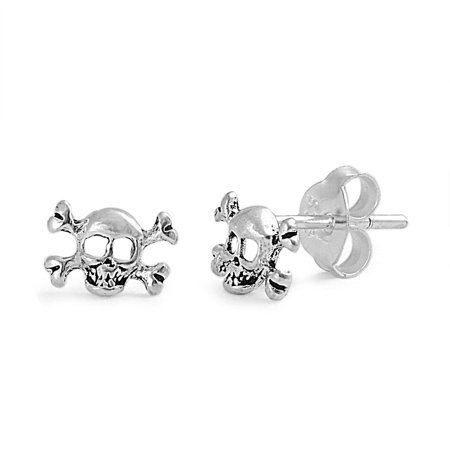 Mini Skull & Crossbones Stud Earrings Sterling Silver - 4mm