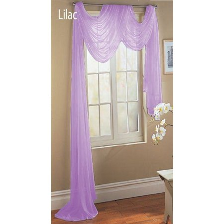 LuxuryDiscounts Beautiful Elegant Solid Lilac Sheer Scarf Valance Topper 37