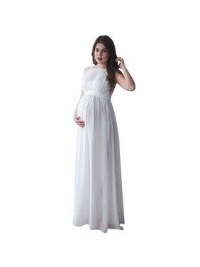 Mosunx Women Pregnant Drape Photography Props Casual Nursing Boho Chic Tie Long Dress