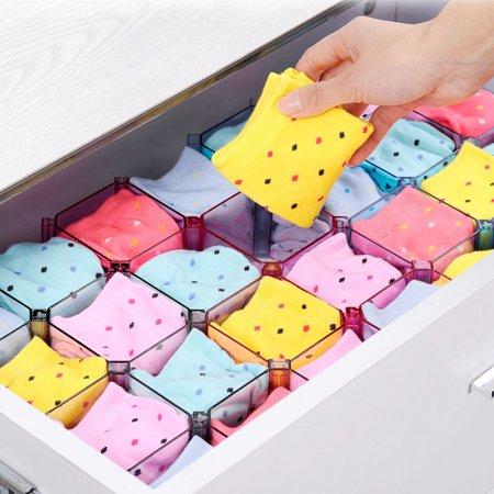 6pcs DIY Combination Honeycomb Drawer Divider Underwear Socks Storage Organizer Plastic Cabinet Partition - image 4 de 8