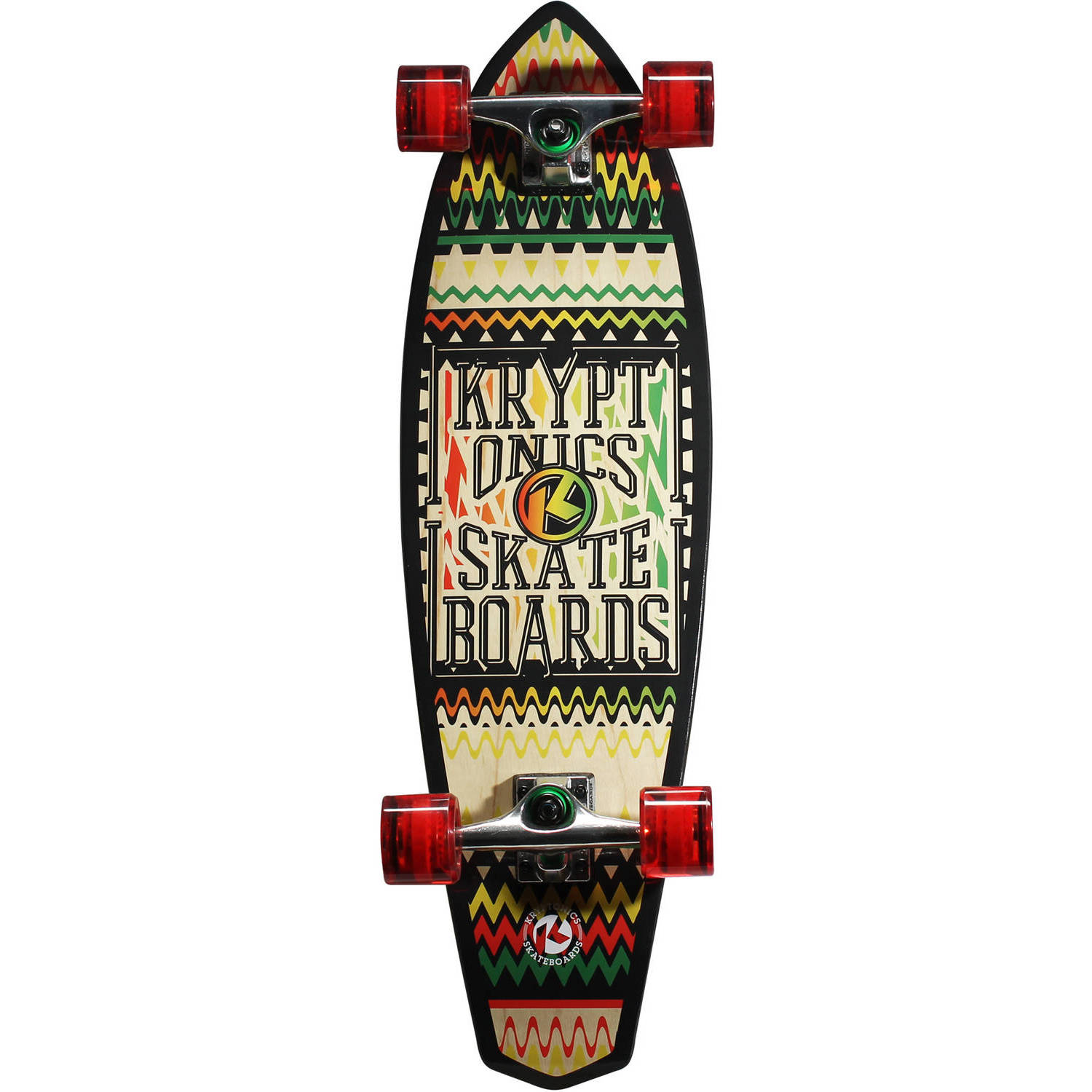 "Kryptonics  Mini Diamondtail Longboard Complete Skateboard, 32"" x 9"""