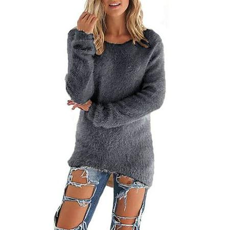 Women 3/4 Sleeve Velvet Fluffy Sweater Jumper Pullover Soft Blouse