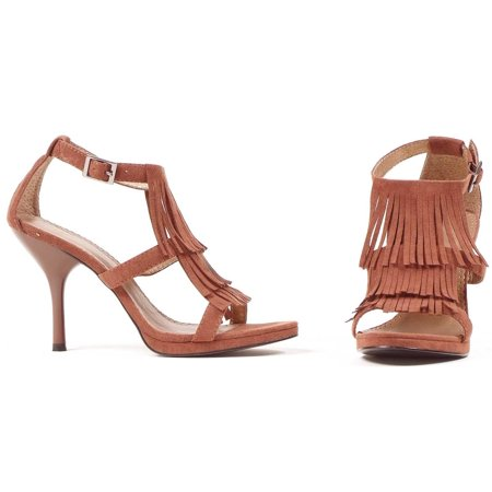 Brown Fringe High Heel Shoes Women's Adult Halloween Accessory - Womens Halloween Shoes