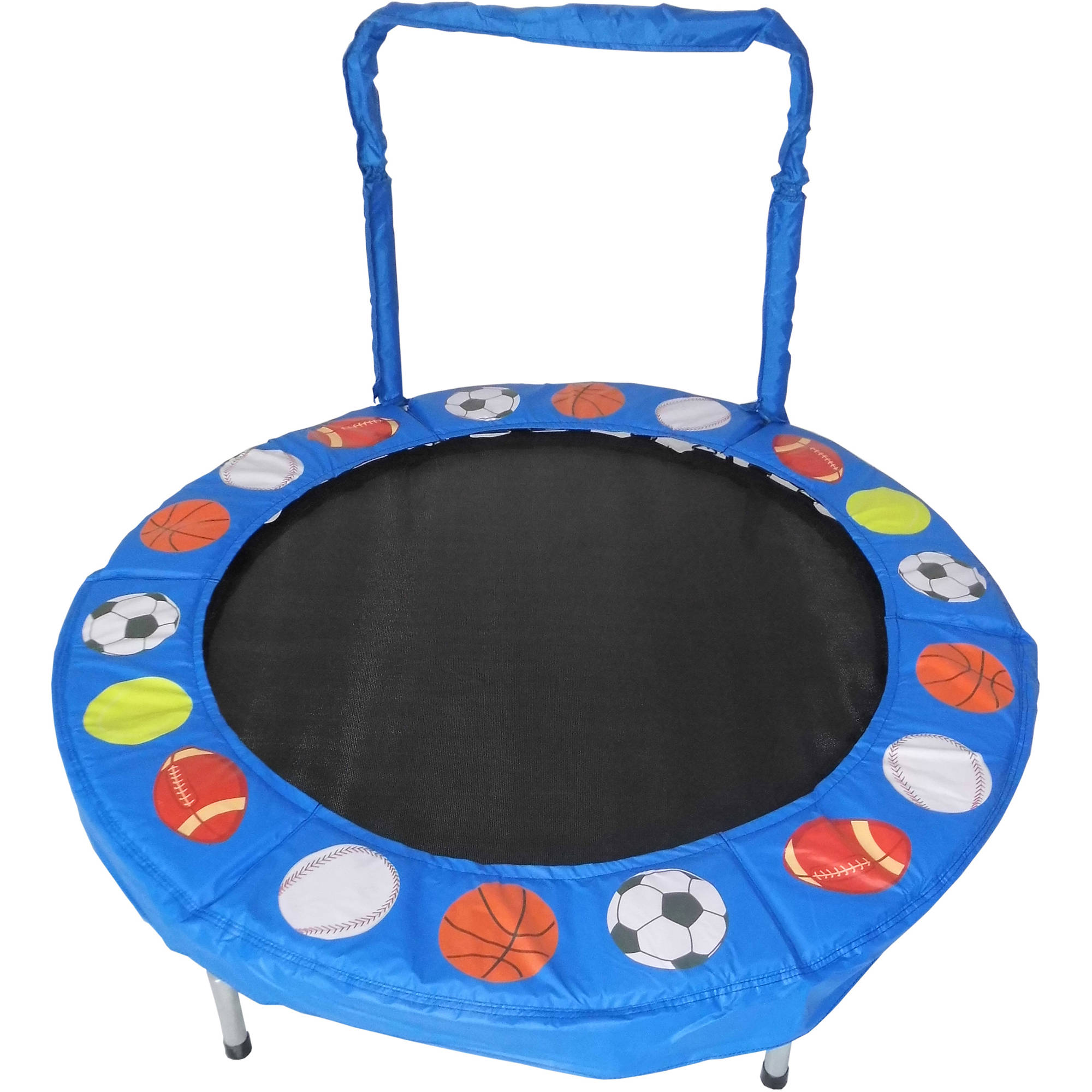 Jumpking Trampoline 4-Foot Bouncer for Kids, Blue Sport Balls