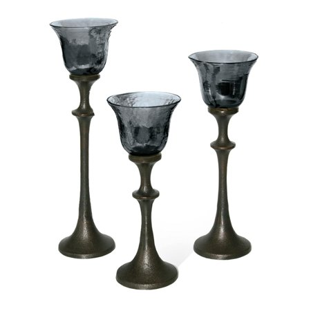 Set of 3 VedaHome Moonstone Blue Luster Glass and Metal Goblet Tea Light Candle Holders 12.5