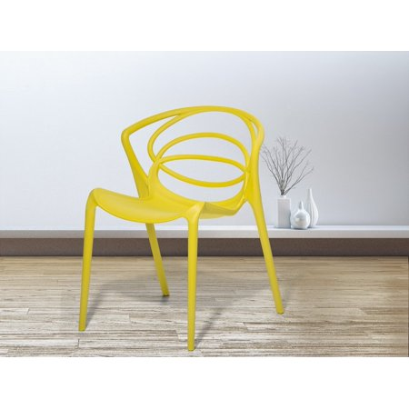 Surprising Modern Dining Chair Synthetic Yellow Stackable Spiral Backrest Bend Forskolin Free Trial Chair Design Images Forskolin Free Trialorg