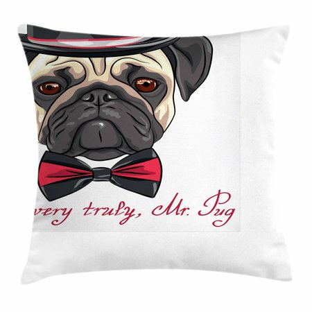 Pug Throw Pillow Cushion Cover, Sketch Style Hipster Dog Frowning Sad Face Pure Bred Top Hat and a Bow Tie Mr Pug, Decorative Square Accent Pillow Case, 16 X 16 Inches, Black Red Cream, by Ambesonne