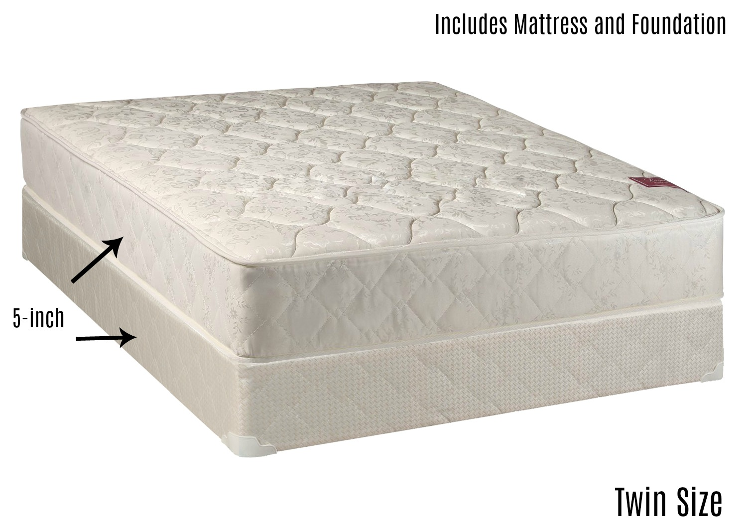 continental sleep elegant collection mattress set with firm mattress and low profile box spring twin - Box Spring Mattress