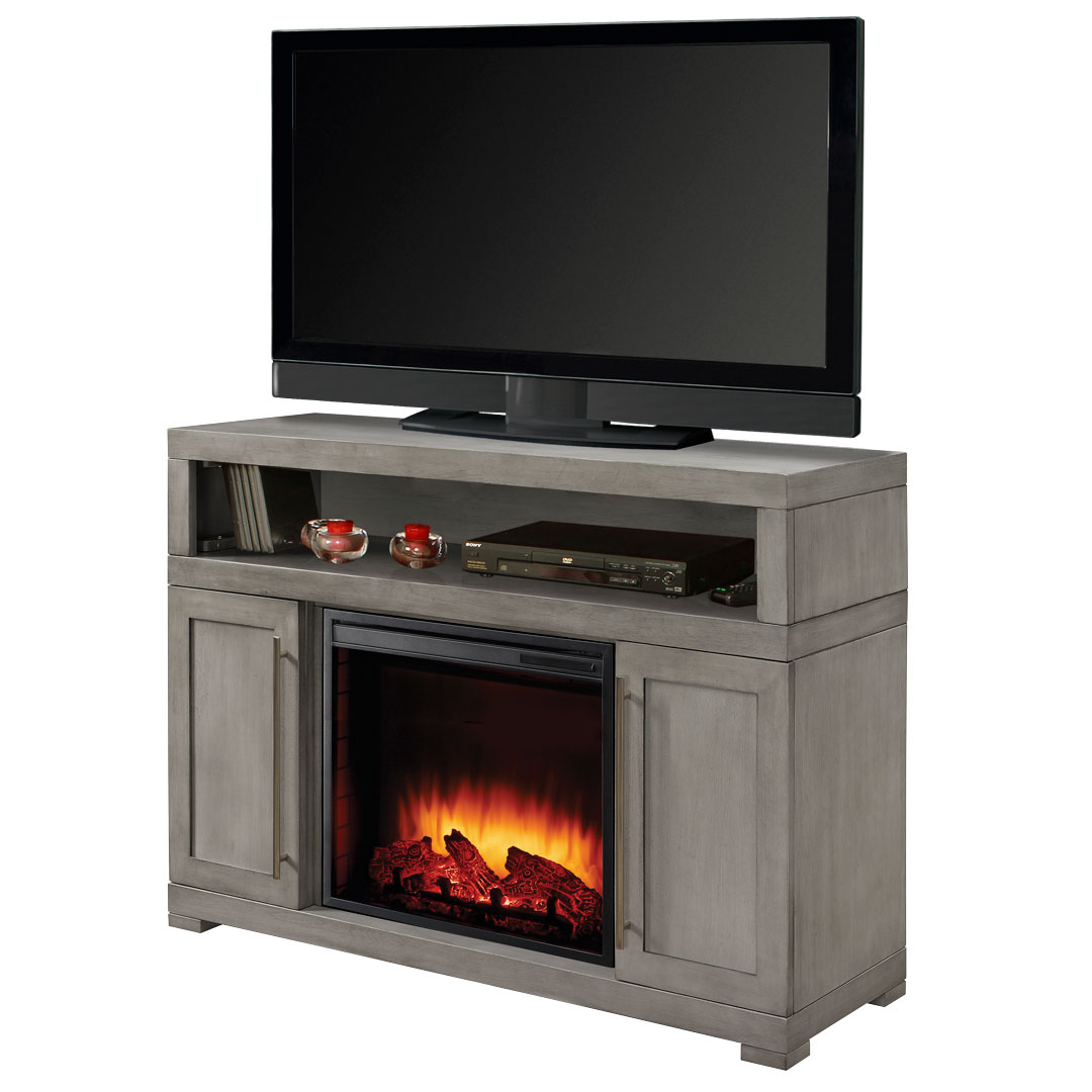 "Muskoka 238-152-89-KIT Mackenzie 48"" Media Electric Fireplace - Light Weathered Grey"