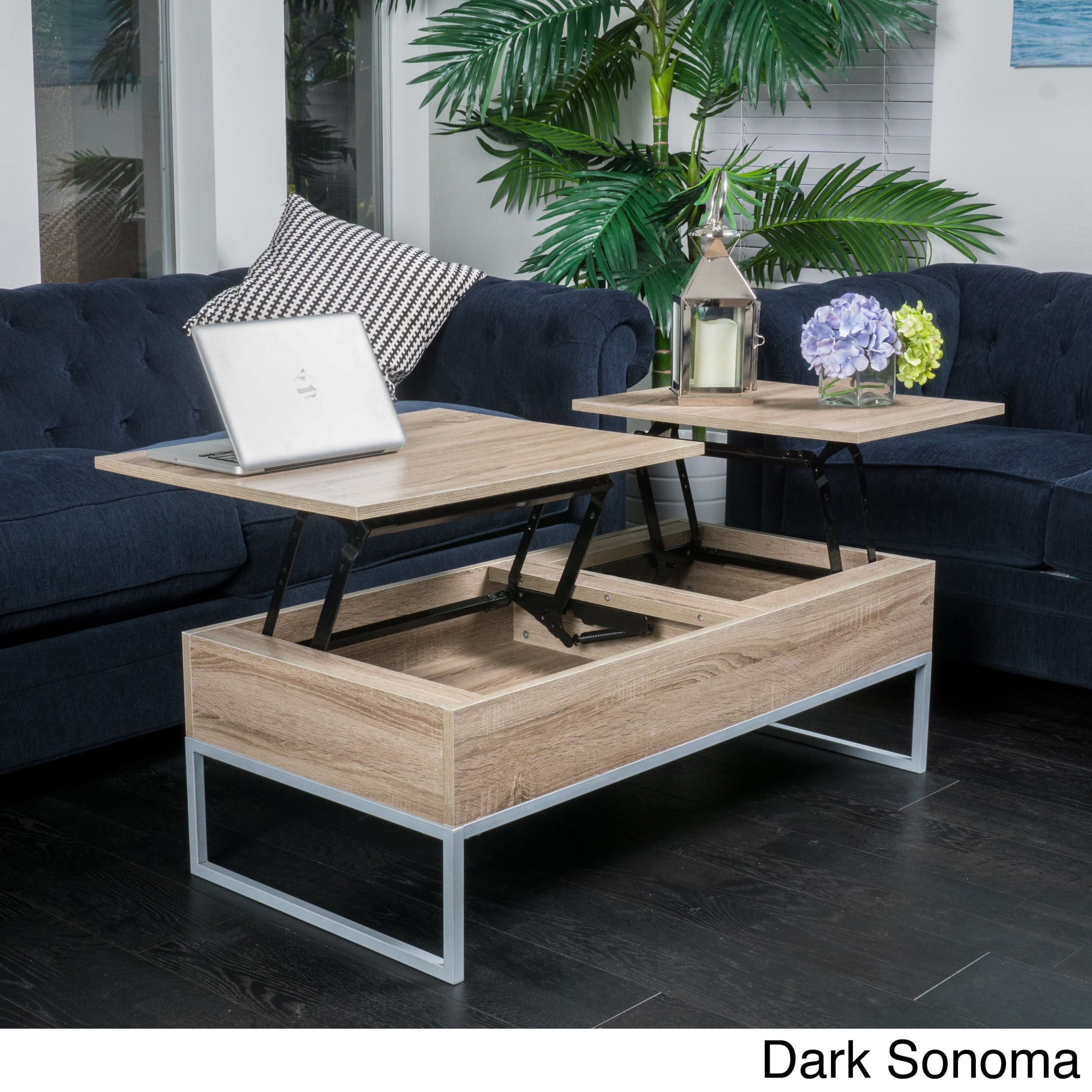 Lift Functional Coffee Table in Dark Sonoma Finish