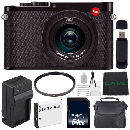 Leica Q (Typ 116) Digital Camera + Replacement Lithium Ion Battery + External Rapid Charger + 64GB SDXC Class 10 Memory Card + SD Card USB Reader + MicroFiber Cloth -