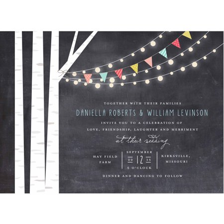 Birch Tree and Lights Standard Wedding Invitation](Black And White Wedding Invitations)