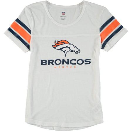 Denver Broncos Girls Youth Team Pride Burnout Short Sleeve T-Shirt - White Denver Broncos Youth Short