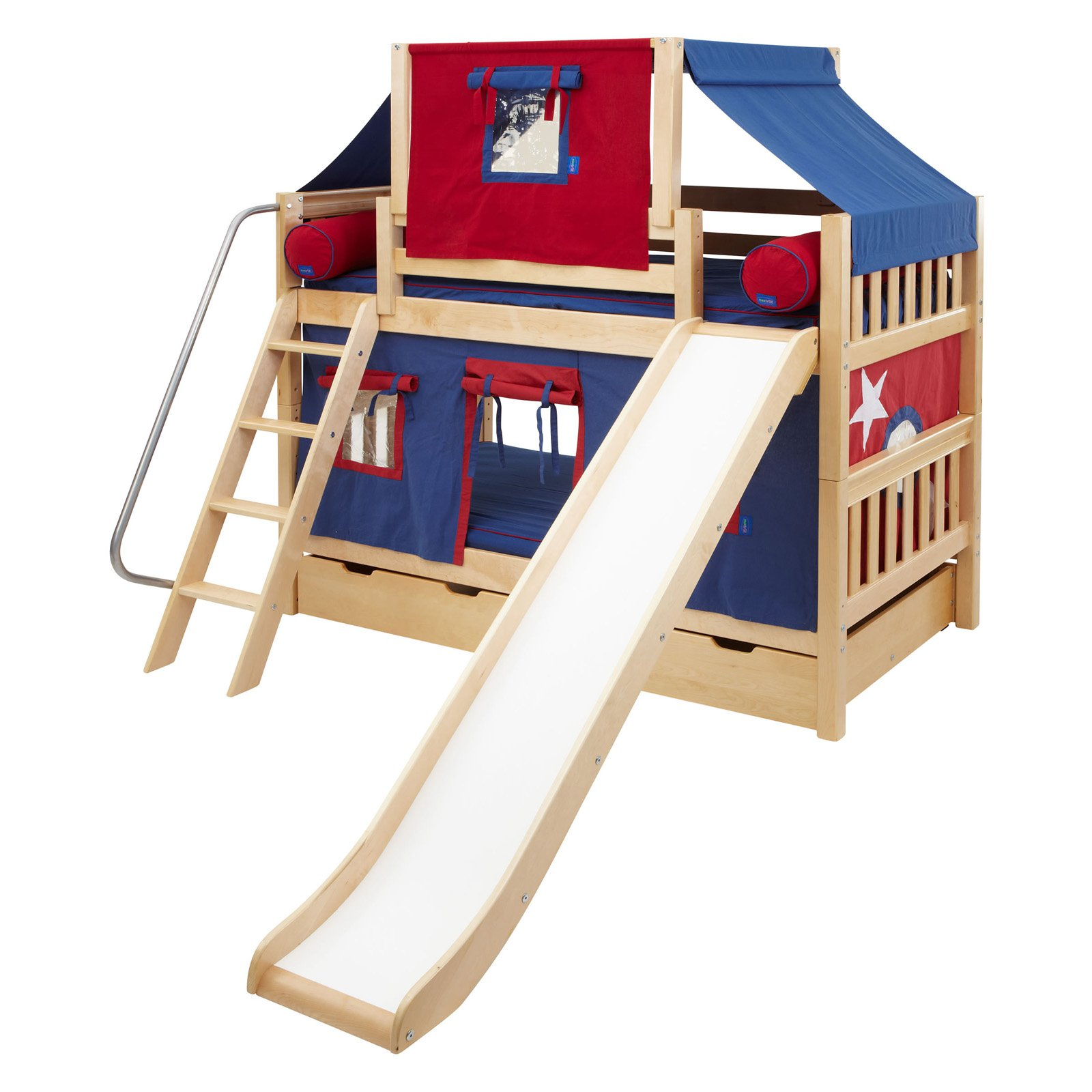 Laugh Boy Twin over Twin Slat Slide Deluxe Tent Bunk Bed  sc 1 st  Walmart : loft bed with tent and slide - memphite.com