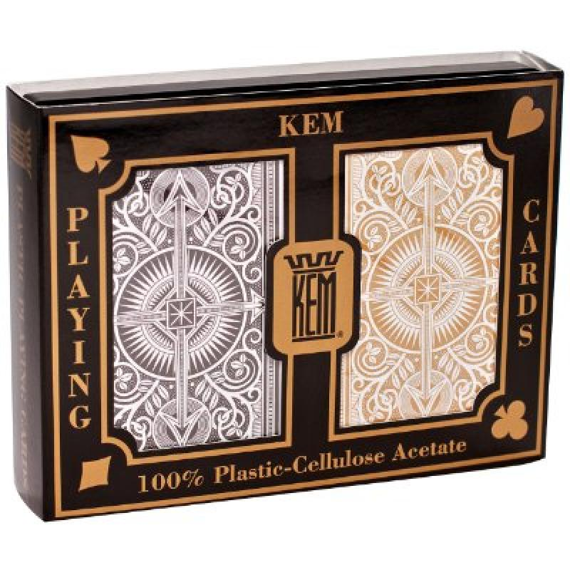 KEM Arrow Poker Size Playing Cards: 2 deck set Black and Gold, Wide Jumbo Index by
