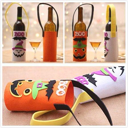 Halloween Decorated Kitchens (Creative Pumpkin Ghost Wine Bottle Cover Halloween Restaurant Family Bottle Decorate)