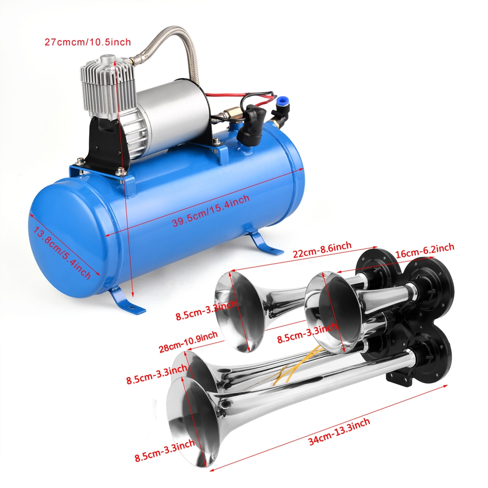 4 Trumpet Vehicle Train Air Horn Truck Air Horn 12 Volt C...