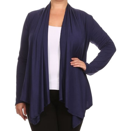 BNY Corner Women Plus Size Long Sleeve Drape Open Cardigan Casual Cover Up Navy 1X V7024 SD