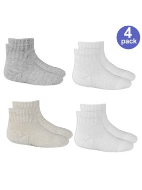 Fruit of the Loom Stay-On Ankle Perfect Socks, 4-Pack (Baby Boys or Baby Girls, Unisex)