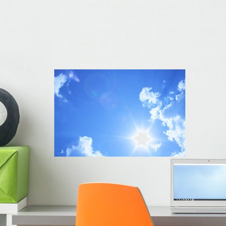 Blue Sky Clouds Beautiful Wall Mural by Wallmonkeys Peel and Stick Graphic (18 in W x 12 in H)