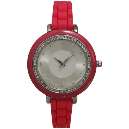 Women's Petite Silicone Silvertone Rhinestone Watch
