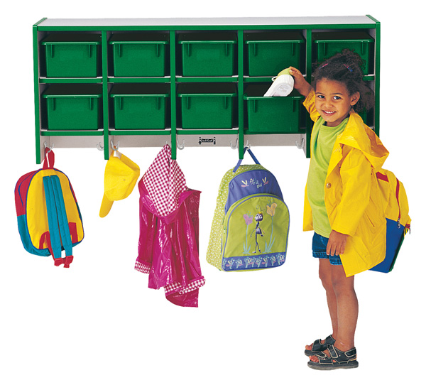 Rainbow Coat Locker -large Wall Mount With Trays-Color:Teal