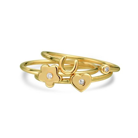 3 Set Minimalist CZ 14K Gold Plated Sterling Silver Midi Knuckle Stackable Flower Heart Horseshoe Ring 1MM Band For Teen