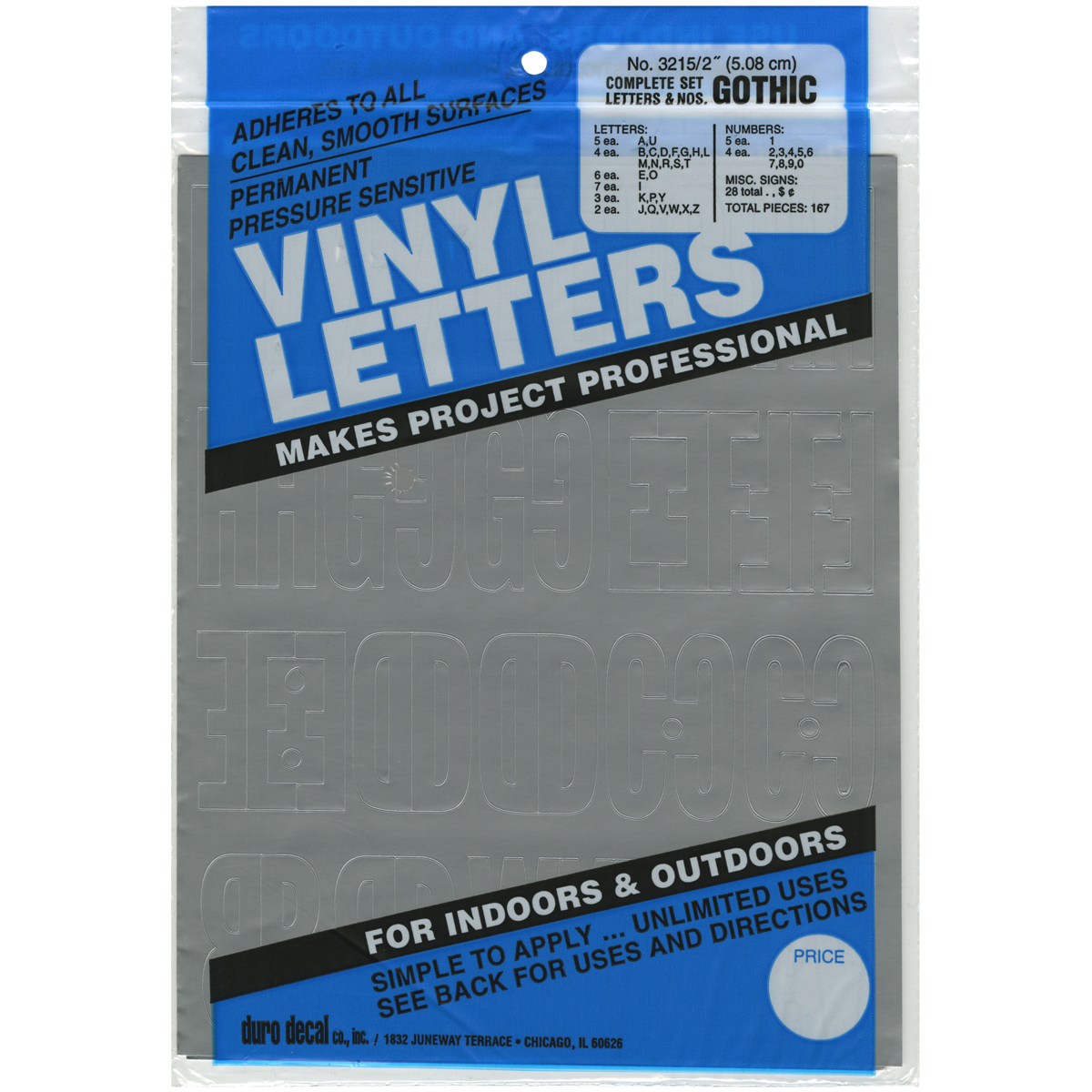"Permanent Adhesive Vinyl Letters & Numbers 2"" 167pk, Silver"