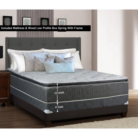 Low Profile Set - WAYTON, 13-inch Fully Assembled Medium Plush Pillow Top Innerspring Mattress and Low Profile Wood Box Spring/foundation Set with Frame / 74x48 / Grey And White Color