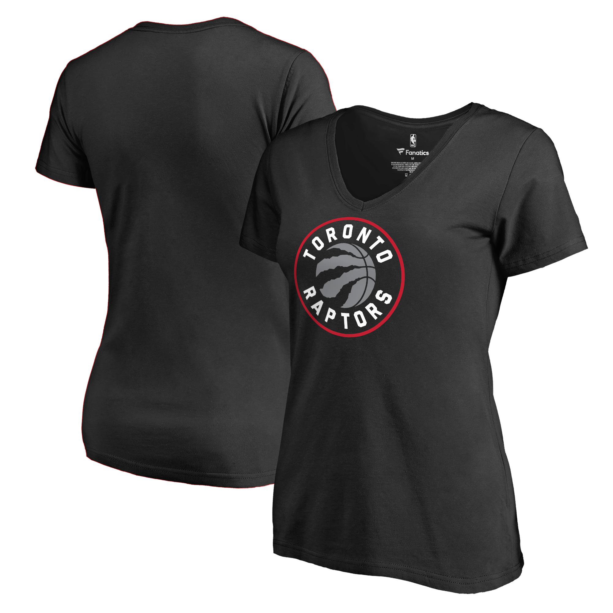 Toronto Raptors Fanatics Branded Women's Primary Logo V-Neck T-Shirt - Black
