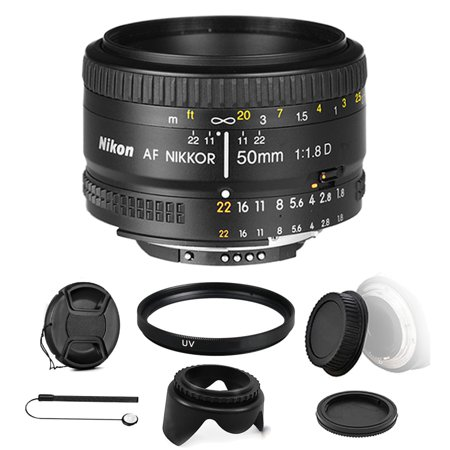 Nikon AF FX NIKKOR 50mm f/1.8D Prime Lens for Nikon DSLR Cameras with All You Need Accessory