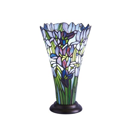 River Of Goods Irises Accent Lamp - Decorative Stained Glass Flared Vase Shaped Floral Table Light Iris Stained Glass