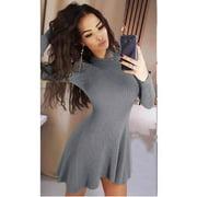 5 Colors S-5Xl Autumn Winter Women Pure Color Mini Dress Knitted Sweater Dress Long Sleeve Slim Knit Dress