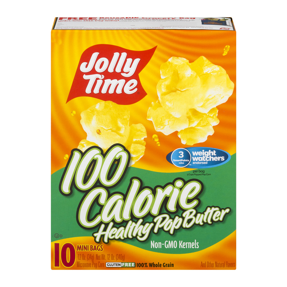 (4 Pack) Jolly Time 100 Calorie Healthy Pop Butter Microwave Pop Corn, 1.2 oz, 10 count