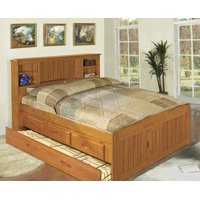 American Furniture Classics Solid Pine Full Captains Bookcase Bed with Twin Trundle and 3 drawers in Honey pine