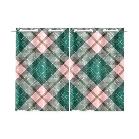 MKHERT Green Plaid Blackout Window Curtain Kitchen Curtain 26x39 inch, 2 Panels ()