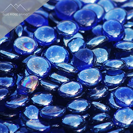 "Fire Pit Glass - Dark Blue Reflective Fire Glass Beads 3/4"" - Reflective Fire Pit Glass Rocks - Blue Ridge Brand™ Reflective Glass Beads for Fireplace and Landscaping 3, 5, 10, 20, 50 Pounds"