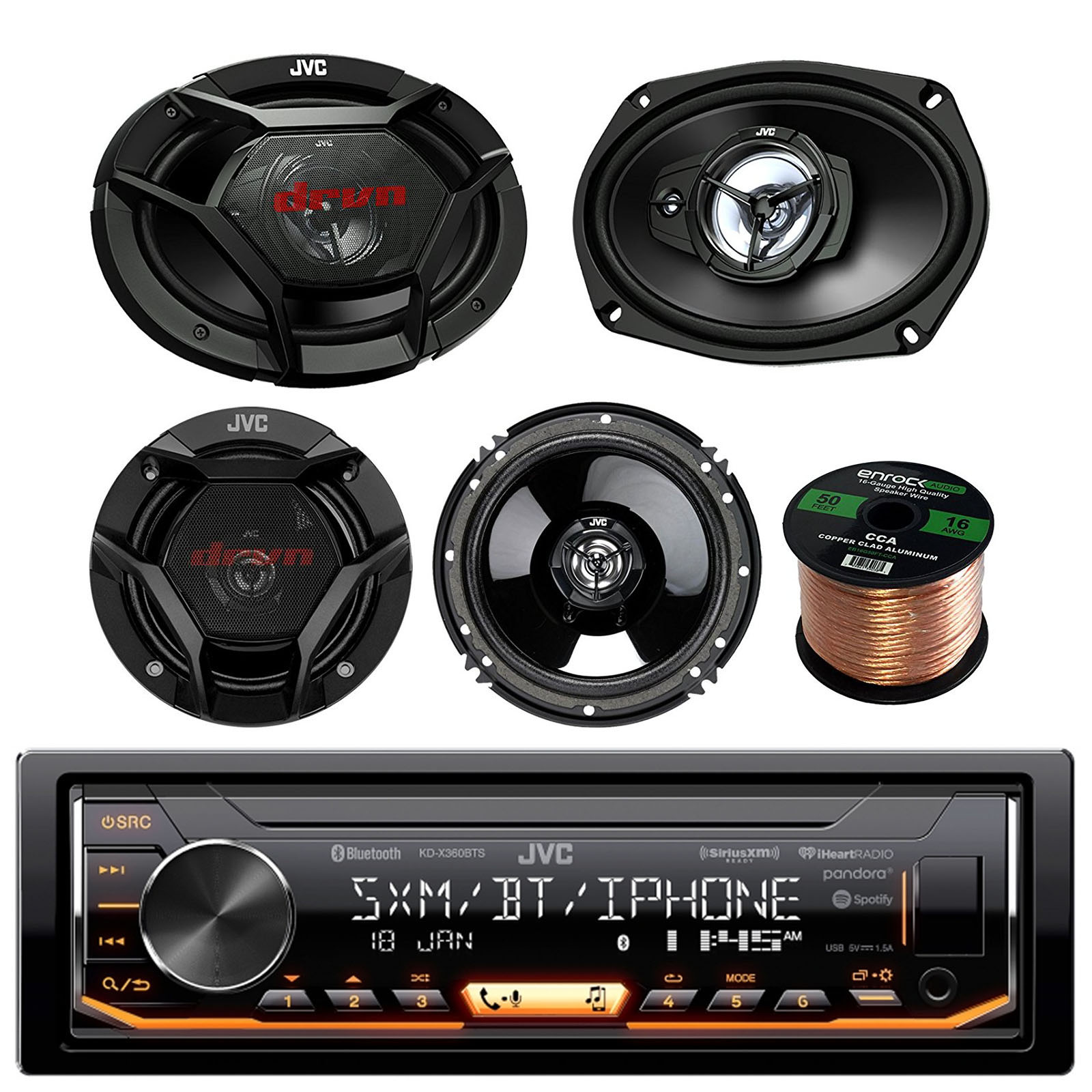 "JVC KD-X360BTS Single-DIN AM/FM USB AUX Car Stereo Receiver Bundle Combo With 2x JVC CS-DR6930 6x9"" 3-Way Vehicle Coaxial Speakers + 2x CS-DR620 6.5"" Inch 2-Way Audio Speakers + 50 Feet 16-Gauge Wire"