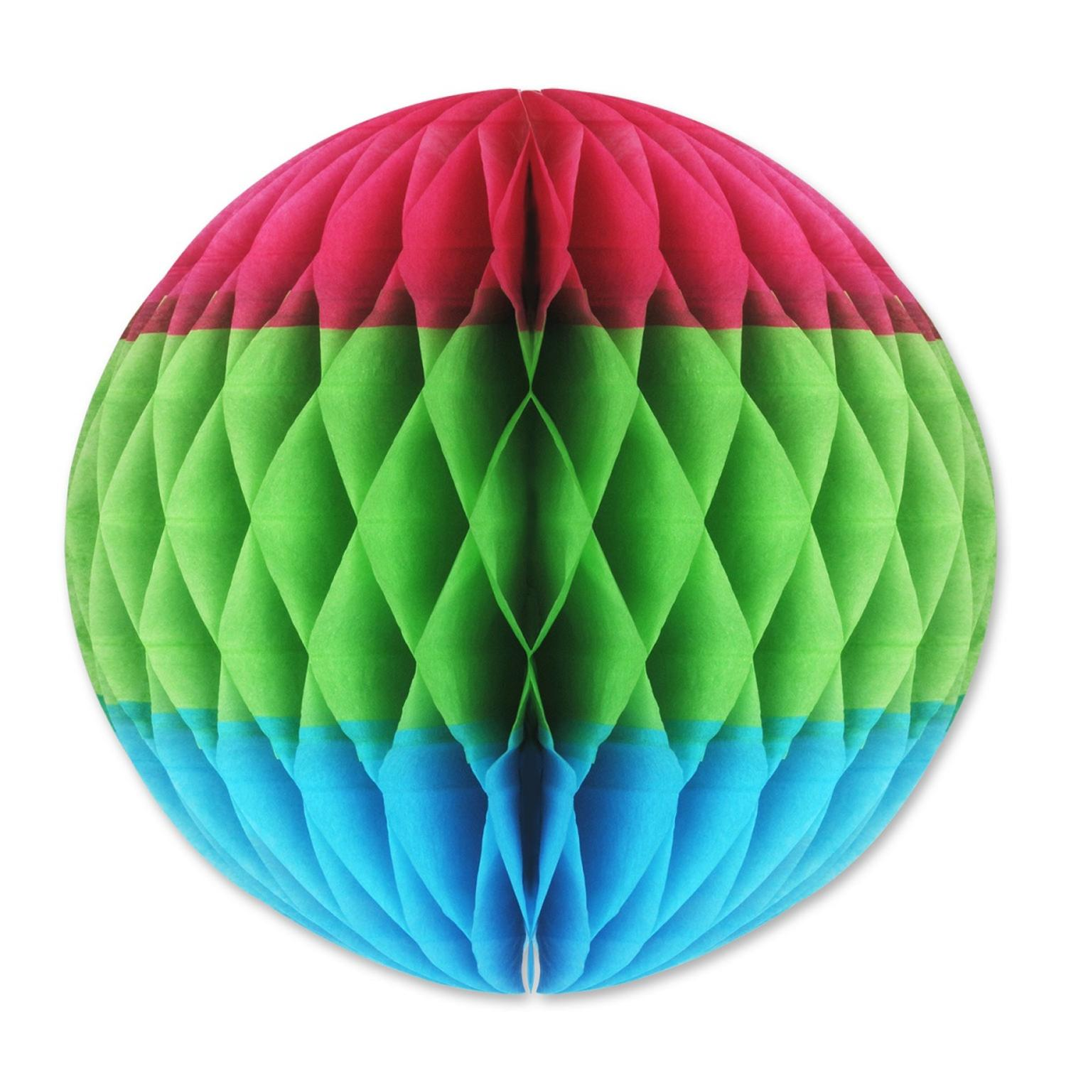 """Club Pack of 12 Cerise, Light Green and Turquoise Luau Tissue Ball Hanging Decorations 12"""""""