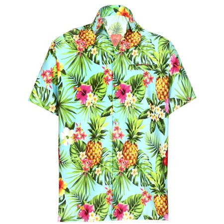 - Hawaiian Shirt Mens Beach Aloha Camp Party Casual Holiday Short Sleeve Hibiscus Floral 3D HD Print B
