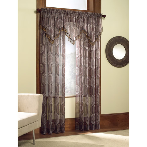 Casablanca Geometric Print Voile Curtain Panel / Valance