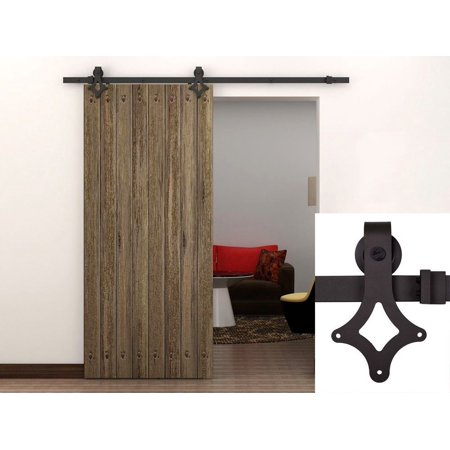 TMS 6FT Country Antique Interior Sliding Barn Door Track Hardware Kit Dark  Coffee Steel - TMS 6FT Country Antique Interior Sliding Barn Door Track Hardware