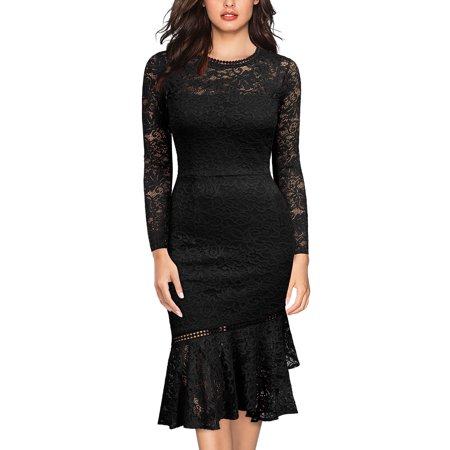 MIUSOL Women's Formal Evening Cocktail Party Bodycon Dress,Lace Long Sleeve Wedding Bridesmaid Mermaid Pencil Dresses(3 Colors:Black,Navy Blue,Magenta and
