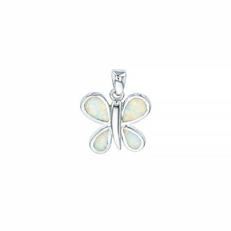 ZilverZoom Sterling Silver White Opal Pear Shape Butterfly Pendant Free Sterling Silver 18