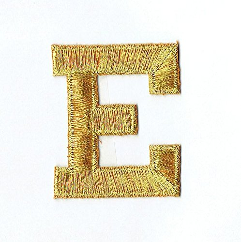 "Alphabet Letter - E - Color Gold - 2"" Block Style - Iron On Embroidered Applique Patch"